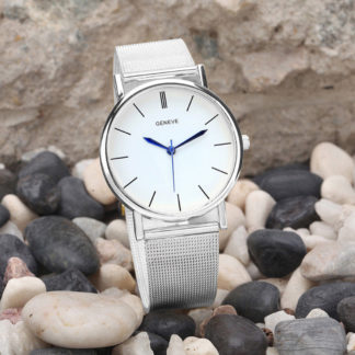 Бял Дамски Часовник с Метална Каишка