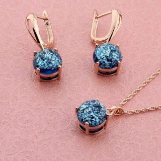 Комплект Бижута със Сини Кристали