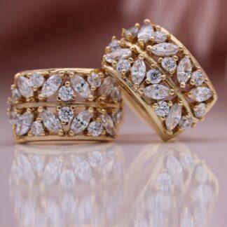 Красиви Обици с Кристали и Златно Покритие